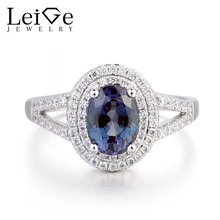 Leige Jewelry June Birthstone Lab Alexandrite Wedding Ring Halo Ring Oval Cut Color Changing Gemstone 925 Sterling Silver Gifts