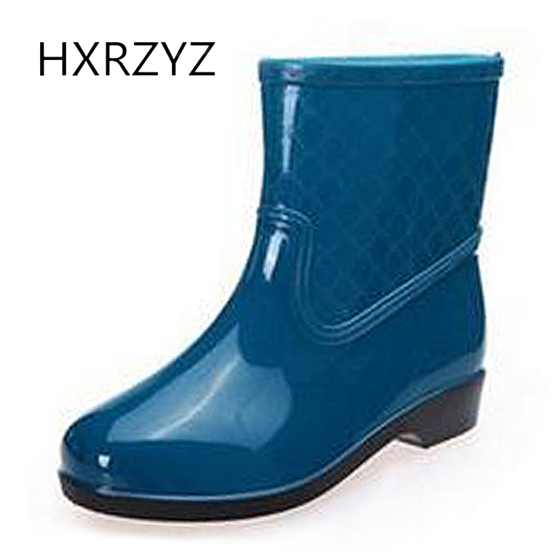 HXRZYZ women rubber boots autumn classic ankle rain boots female fashion comfortable non-slip waterproof low heeled women shoes spring autumn boots women soft footwear classic boots female comfortable outdoor shoes aa20131