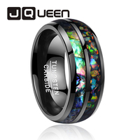 2019 newest 8mm wide electroplated black inlaid shells Opal dome tungsten steel ring for wedding gift rings free shipping