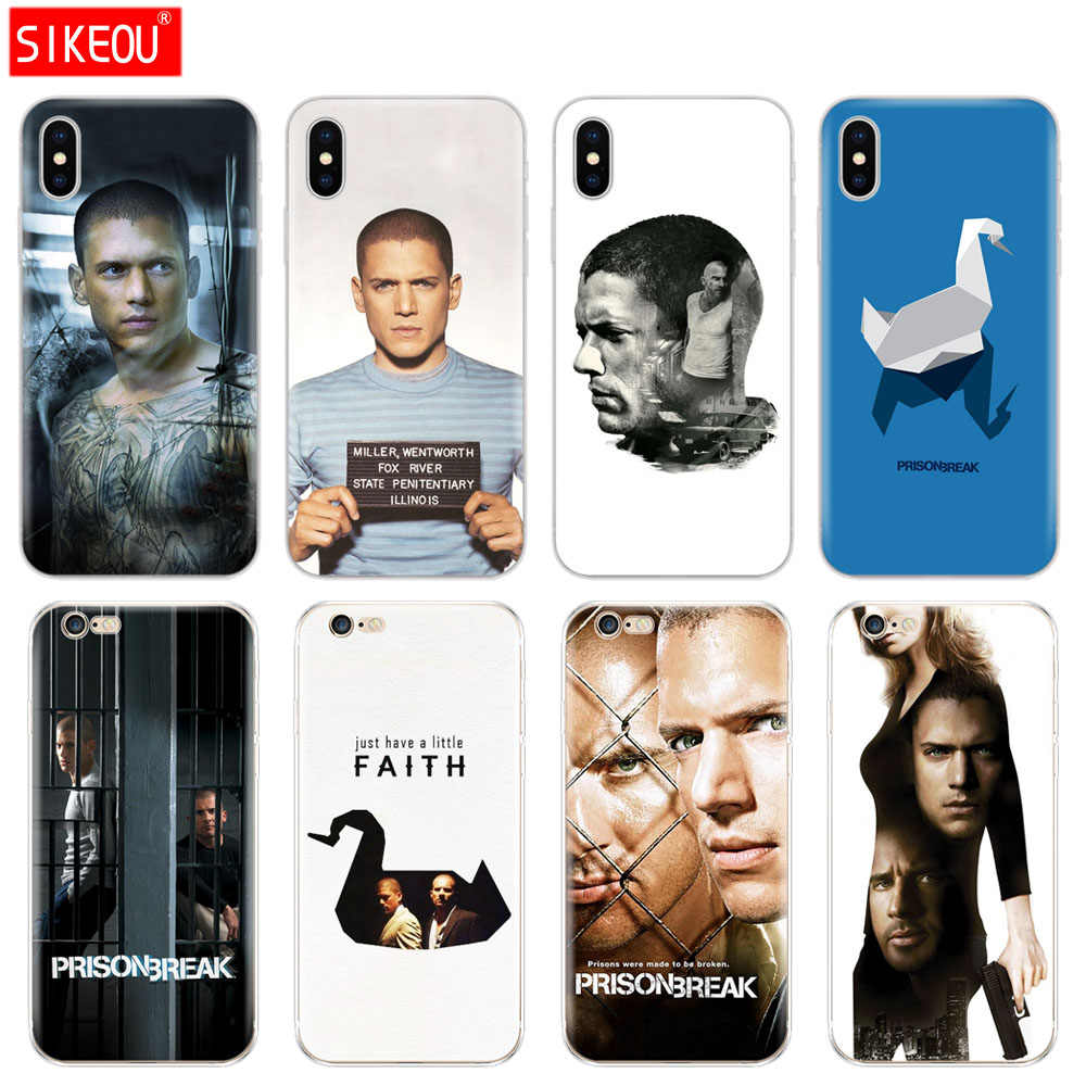 Tampa Do Telefone de Silicone Case Para Iphone 5 6X8 7 6 s 5S SE Plus 10 XR XS Max caso Prison Break