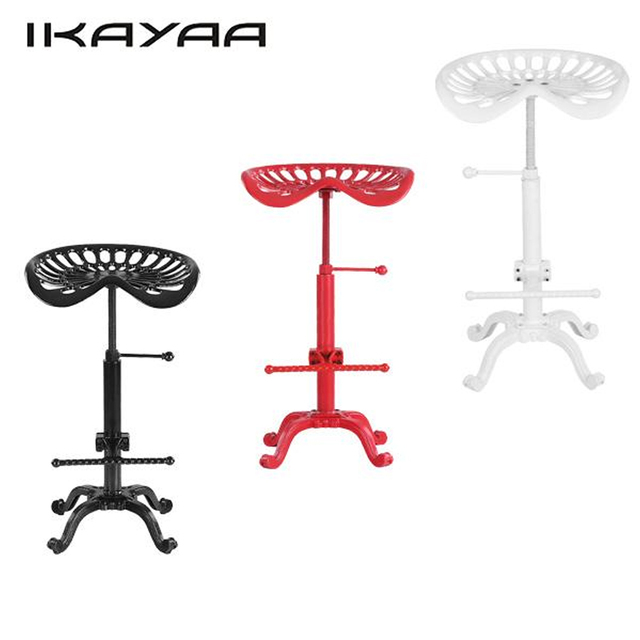 IKayaa Industrial Style Cast Iron Tractor Seat Bar Stool Adjustable Height  Swivel Metal Barstool Chair US