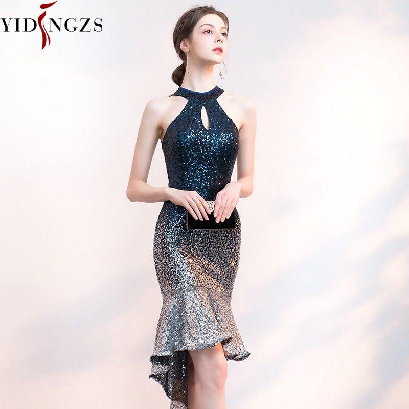 YIDINGZS Short Front Long Back Sparkle Sequin Cocktail Dress Halter Elegant Party Dress YD661