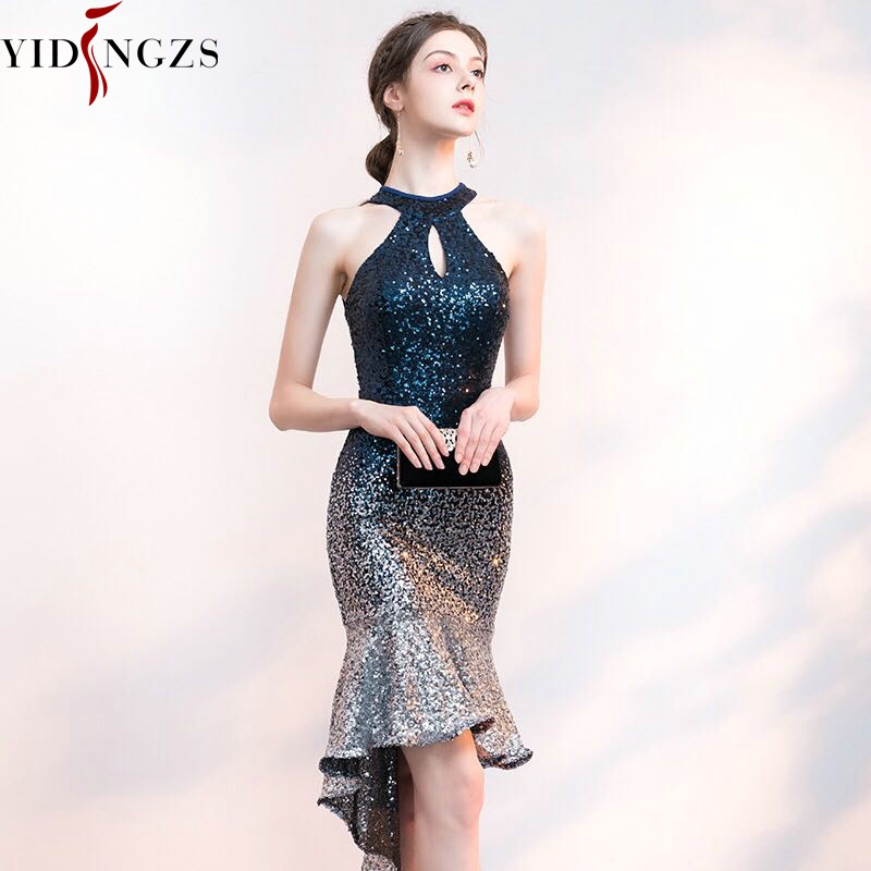 YIDINGZS court avant Long dos paillettes robe de Cocktail licou élégante robe de soirée