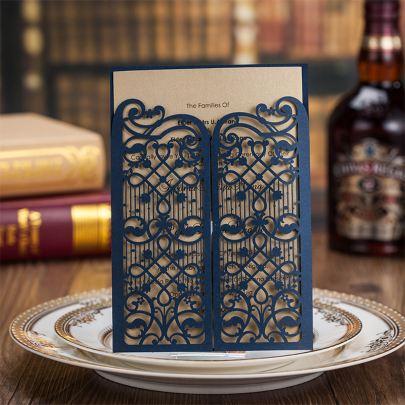 Design Hollow Flower Blue Door Laser Cut Wedding Invitations Kit Printing Invitation Cards Set Blank Insert Paper Convite square design white laser cut invitations kit blanl paper printing wedding invitation card set send envelope casamento convite