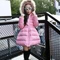 2016 Meninas Novas de Inverno Quente Longo Casaco de Criança de Algodão Das Meninas Natal Manga longa Com Capuz De Pele Outerwear do Inverno Da Menina Da Escola Bonito jaqueta
