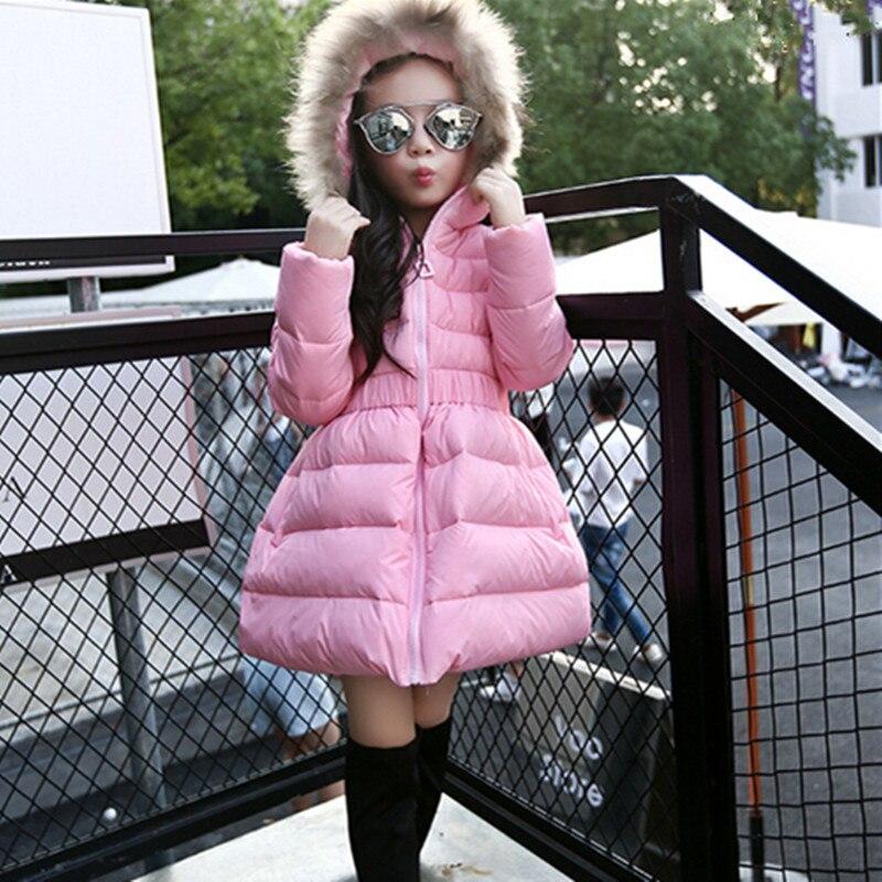 2018 New Girls Winter Warm Long Coat Kid Cotton Girls Long Sleeve Christmas Fur Hooded School Cute Outerwear Girl Winter Jacket 2015 new mori girl wave raglan hooded loose sleeve medium long wadded jacket female page 5
