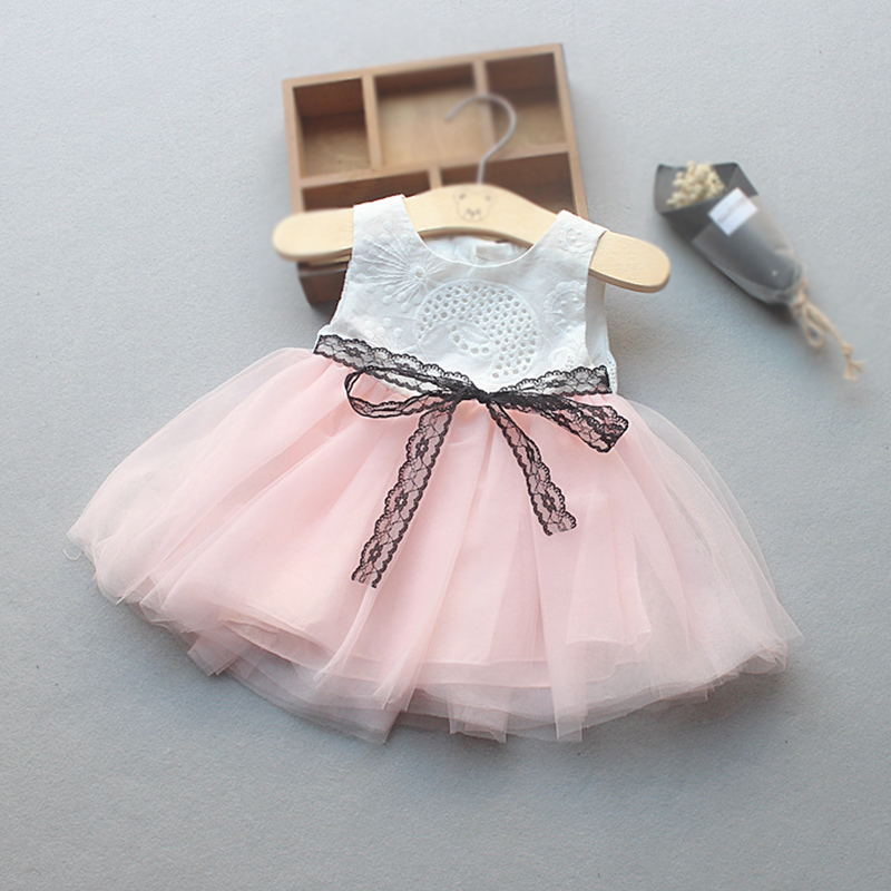 Baby Girls Dress White NewBorn Sleeveless Bow Dress for Baby Girl Clothes Summer Infant Princess Dress Pink