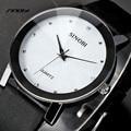 SINOBI Gents Wrist Watches Mens Casual Quartz-Watch Black Leather Black Surface Male Wristwatches Reloj Christmas Gift AB2248
