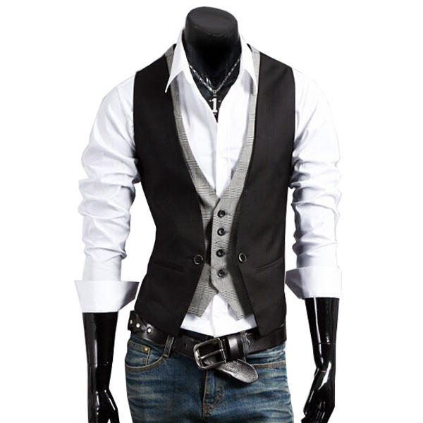 2015 Hot Sale Fashion High quality Men Vests Mens Casual Suit V-necked Slim Fit Cotton Vests size M-3XL men clothing