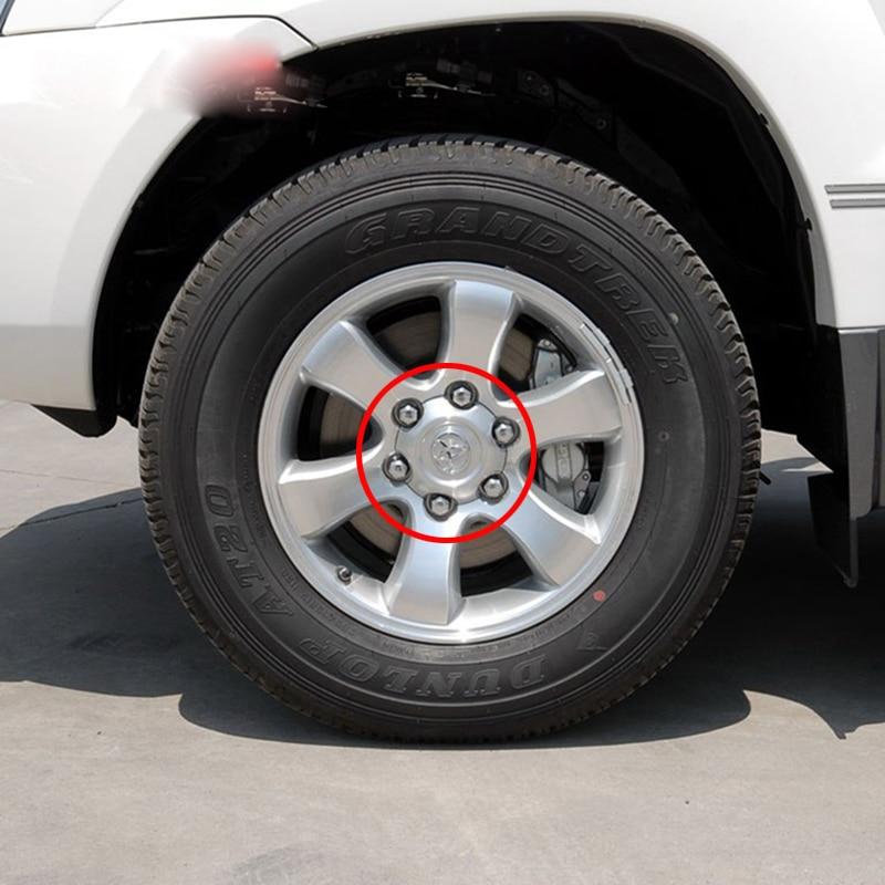 4 Uds. 2003mm 95mm plata Full Chrome rueda Centro cubo tapa aleación Hubcaps apto para 2013-4000 Toyota Land Cruiser 140 Prado 4.0L