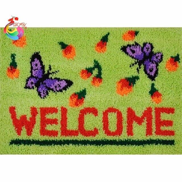 Diy рукоделие Ремесло крюк с Защелкой ковер комплекты Ковер вышивка наборы для вышивания нить вышивка крестом ковры ковры Бабочки