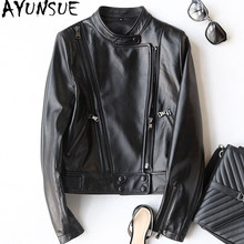 AYUNSUE 2019 Genuine Leather Jacket Spring Sheepskin Coat For Women Short Motorcycle Coats Real Leather Jackets Outwear 22294(China)