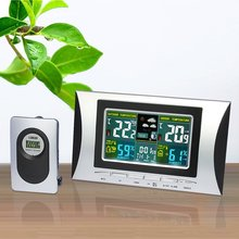 Wholesale prices H102G Wireless Multi-use Colorful LCD Display Digital Alarm Clock Weather Station Indoor Thermometer Weather Forecast