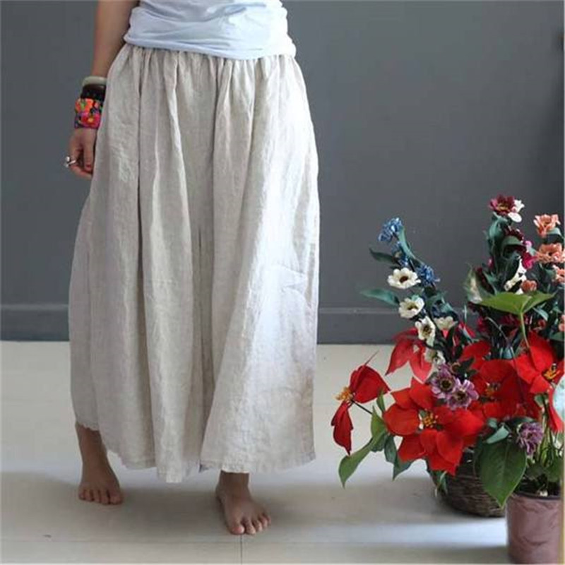 BUYKUD Casual Linen Pants Women Soft Summer Loose Cotton Wide Leg Pants Plus Size Women Cotton Trousers