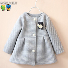 2016 Spring Children Jackets Baby Little Penguin Single Breasted Child Coat Girl Outerwear Jackets For Girls Bow Girl Clothes