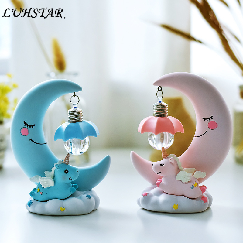 LED Night Light Resin Moon Unicorn Cartoon Baby Nursery Lamp Breathing Children Toy Christmas Gift Kids Room Craft Table Light