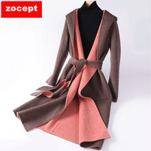 zocept New Autumn Winter Wool Coat Women Long Hooded Belt Double-sided Double-Color High Quality Warm Female Woolen Long Coat(China)