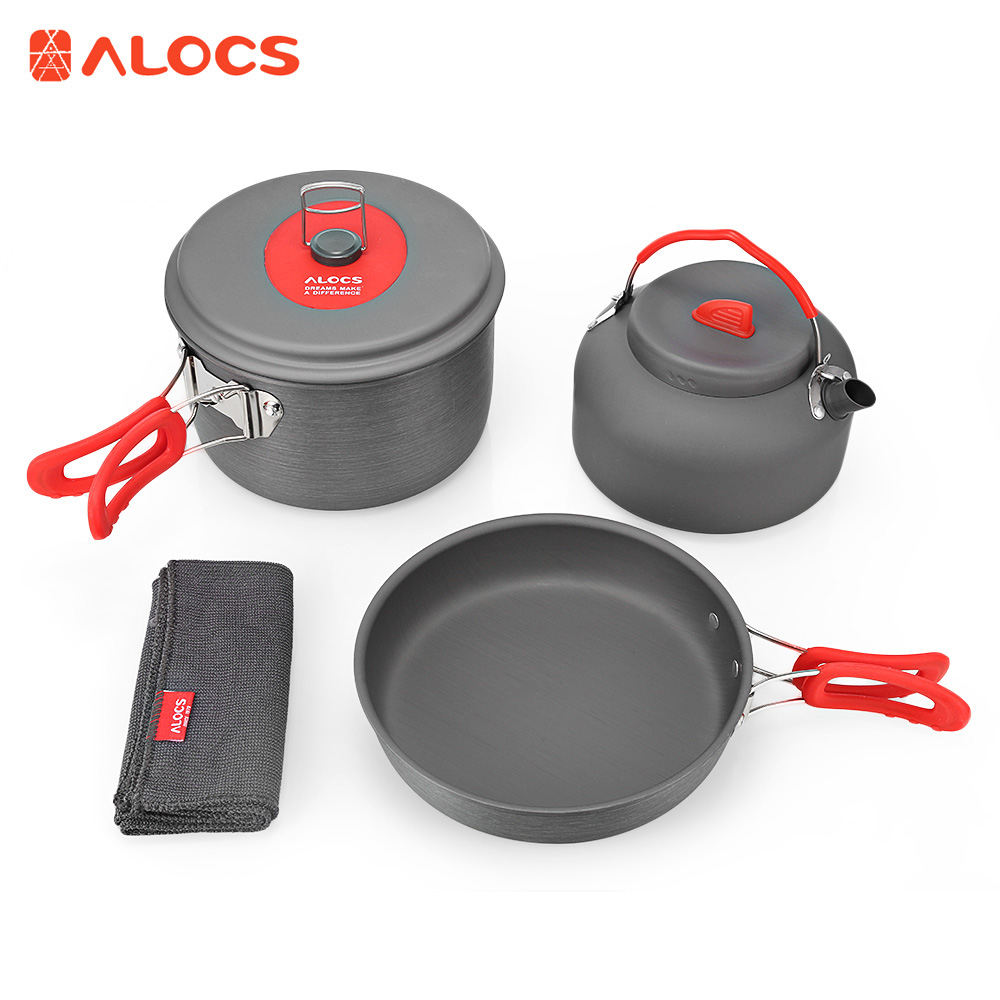 ALOCS Portable Ultralight 2 - 3 People Cooking Kit Camping Cookware Set Pot Pan Kettle Dishcloth with Bag for Picnic Hiking alocs cw c19t 2 3 people outdoor camping cook set 5 pieces with bag 2 2l pot 1 4l teapot 7 5 inches frying pan