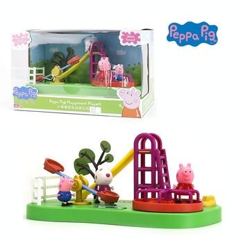 2018 Genuino PEPPA PIG-peppa pig Parco Giochi play set con peppa George e Suzy GIOCATTOLO PER BAMBINI per bambini migliore regalo con la MUSICA