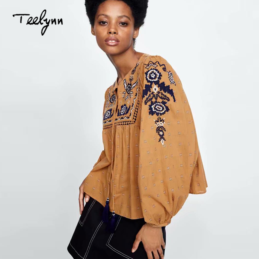 TEELYNN boho blouse autum floral embroidered o-neck tassel puff long sleeve blouses hippie loose shirt blouse for women chic top