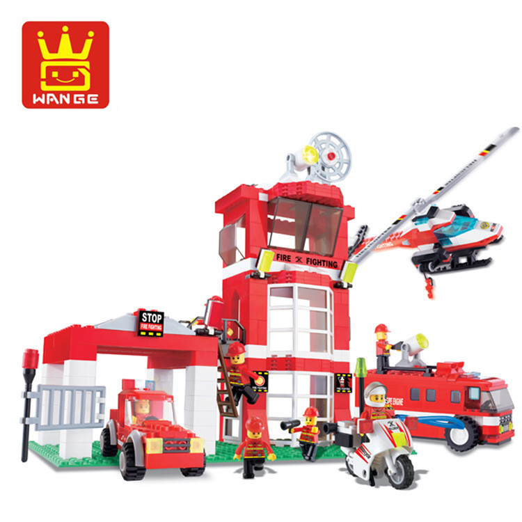 Wange 34021 638pcs City Fire Emergency Rescue Fire Engines Helicopters Building Block Brick Toys for Children jie star fire ladder truck 3 kinds deformations city fire series building block toys for children diy assembled block toy 22024