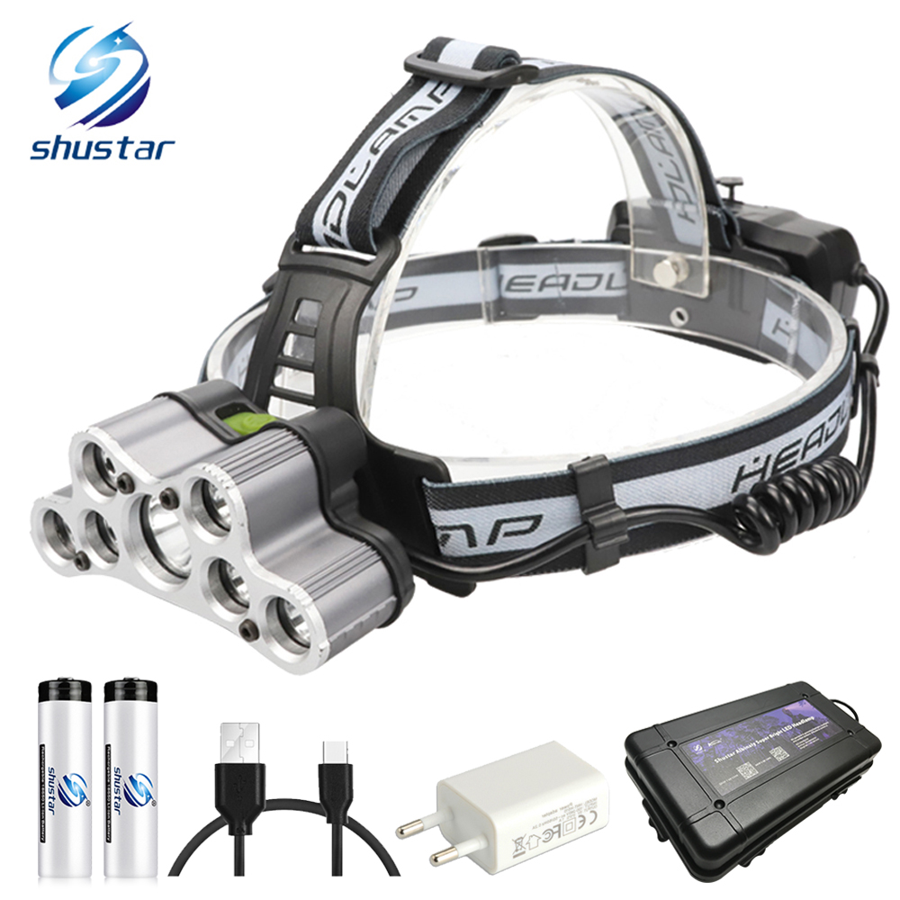 Super Bright LED Headlamp Waterproof Headlight 6 Lighting Modes 5xT6 + 2 X Q5  Fishing Lamp Use 2x18650 Battery + USB Charger