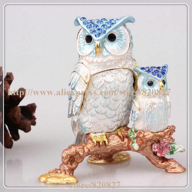 купить Owl Crystal Studded Jewelry Trinket Box Owl Trinket Box for Decorative Storage Colorful Owl Crystals Enamel Statue Figurine по цене 1835.25 рублей