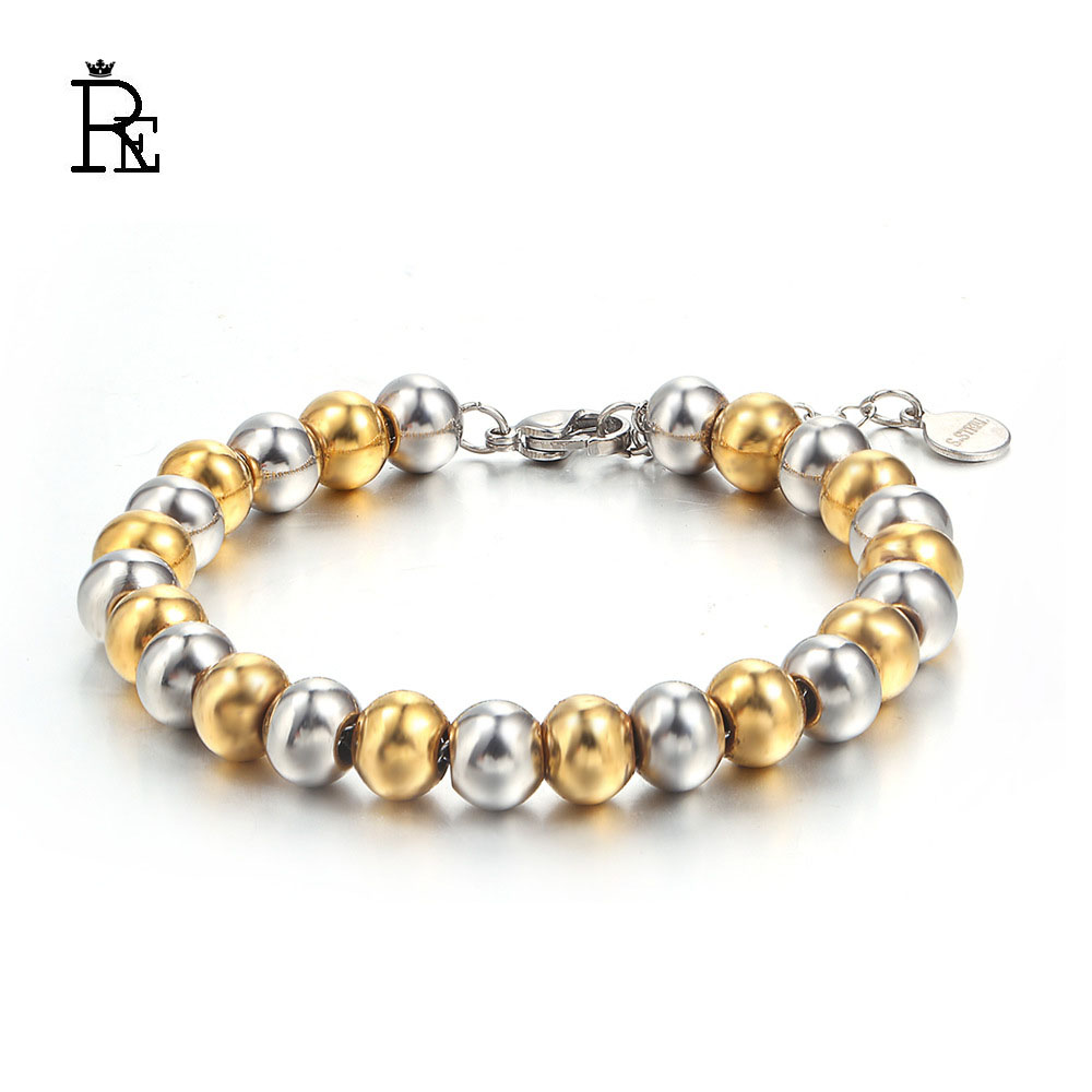 Tennis Charm Bracelet: RE Punk Silver Gold Tone Stainless Steel Beads Chain Link