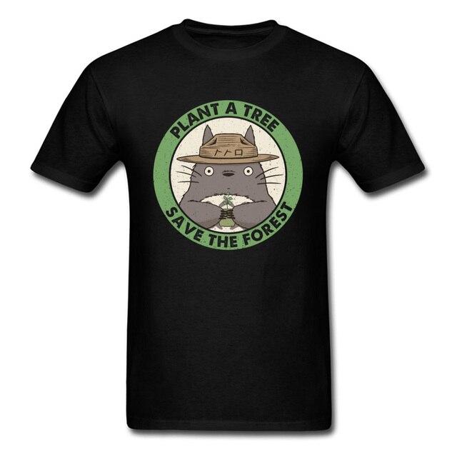 da1b1e7ba Plant A Tree Save The Forest T-shirt Men Black T Shirt Neighbor Totoro Tops  Anime Tshirt Printed Clothing Vintage Tees