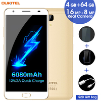 6080mAh Smartphone OUKITEL K6000 Plus 4GB 64GB 12V 2A Quick Charging 5 5 Android 7 0