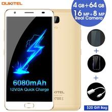 """6080 мАч Смартфон Oukitel K6000 плюс 4 ГБ + 64 ГБ 12 В/2A быстрой зарядки 5.5 """"Android 7.0 MTK6750T Octa core до 1.5GH телефона"""