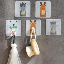Multifunctional Strong Adhesive Hooks Cartoon Pattern Bathroom Kitchen on Wall Hanging Door Key Random