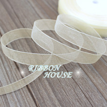 (50 yards/roll) Beige Organza Ribbons wholesale gift wrapping decoration Christmas ribbons 12/15/20/25/40/50mm(China)