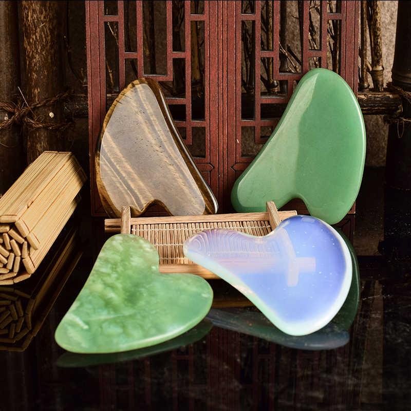 Gouache Body Scraper หลายวัสดุกระดานขูดเท้ากลับ Guash Scratch Massager คริสตัลหิน Gua Sha เครื่องมือนวด