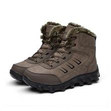 Мужская обувь для катания на лыжах; уличные зимние ботинки из натуральной кожи; зимние ботинки с подкладкой из искусственного меха; большие размеры; теплая зимняя обувь для пеших прогулок