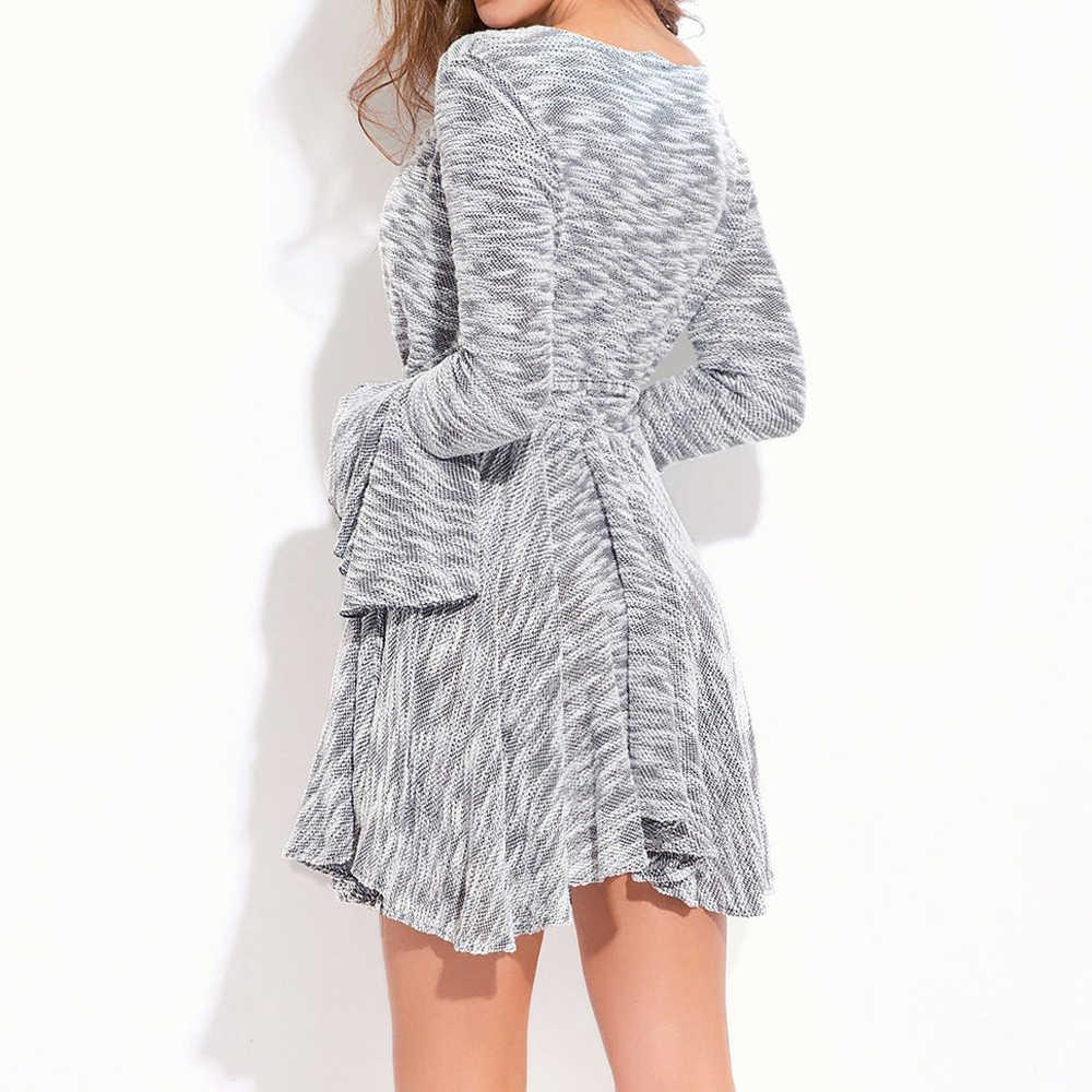 Оригинальный дизайн женские весенне-осенние модные тканевые женские Необычные расклешенные с длинным рукавом сексуальное серое мини-платье GJJ481