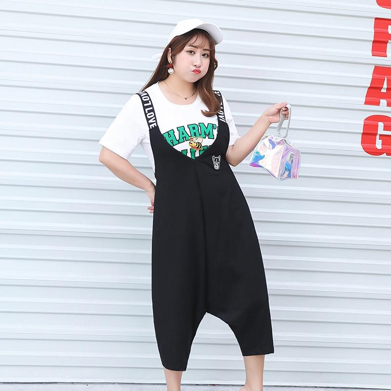 MINSUNDA Plus Size Letter Strap Harem Jumpsuit Hip Hop Mid Waist Sleeveless High Street Jumpsuit Women Appliques Casual Jumpsuit