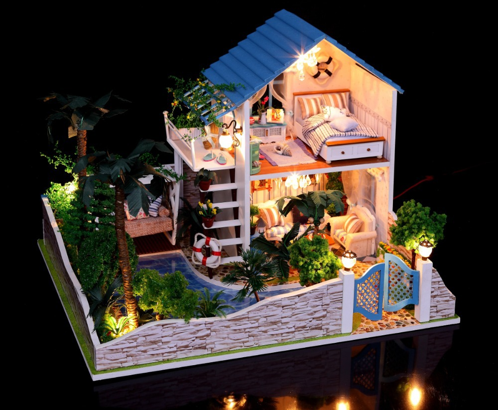 New Arrive Diy Doll House Model Building Kits 3D Handmade Wooden Miniature Dollhouse Toy Christmas Birthday Greative Gift wholesale silver jewelry manufacturers s925 mens fashion silver silver bracelet handmade coarse twist 7m