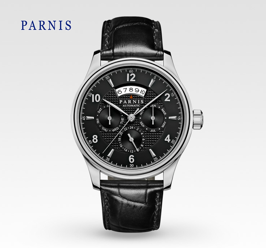 Casual 43mm Parnis Sapphire Crystal Automatic Black Dial Silver Numbers Genuine Leather Watch band Business Wristwatch Men  casual 43mm parnis automatic power reserve white dial blue numbers silver watch case business watch men