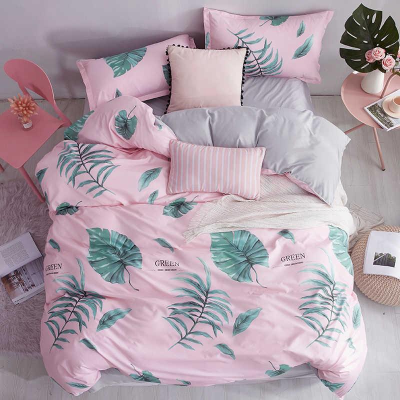 Домашний текстиль с изображением мультфильма зеленый лист 4 шт. постельное бельё