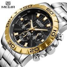 MEGIR – montre de luxe pour homme, entièrement en acier, étanche, à Quartz, 24 heures, Sport, militaire