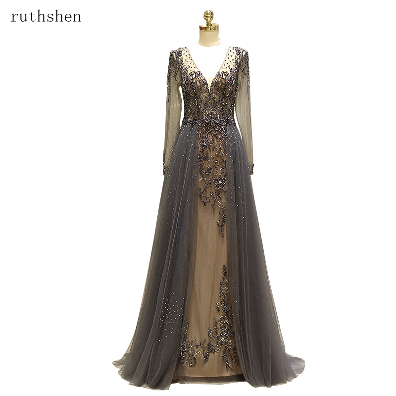 ruthshen 2019 Real Picture BeadingTransparent   Prom     Dresses   Sexy Open Back Formal Party   Dress   Illusion Vestido De Formatura