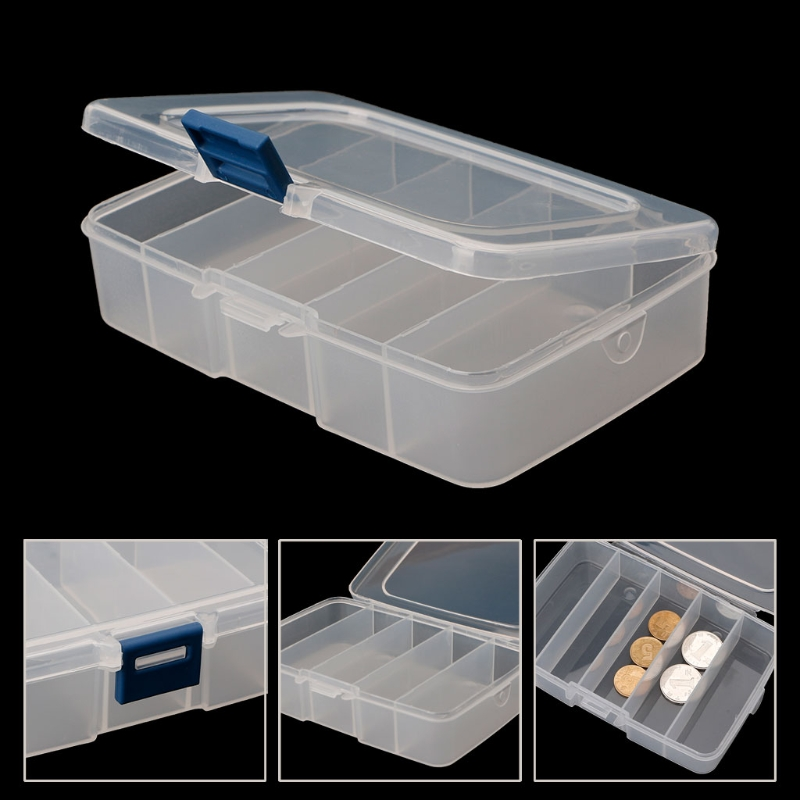 5 grids Clear Pill Chip Divider Storage Box Clear Square Jewelry Organizer Display Case