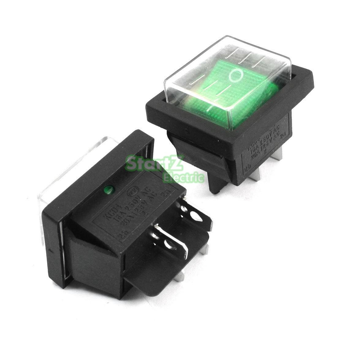 5pcs DPST 2 Position 4 Pin Green Button Waterproof Boat Rocker Switches 250vac 15a 125vac 20a 4 pin 2 position dpst on off snap in rocker switch kcd2 201n