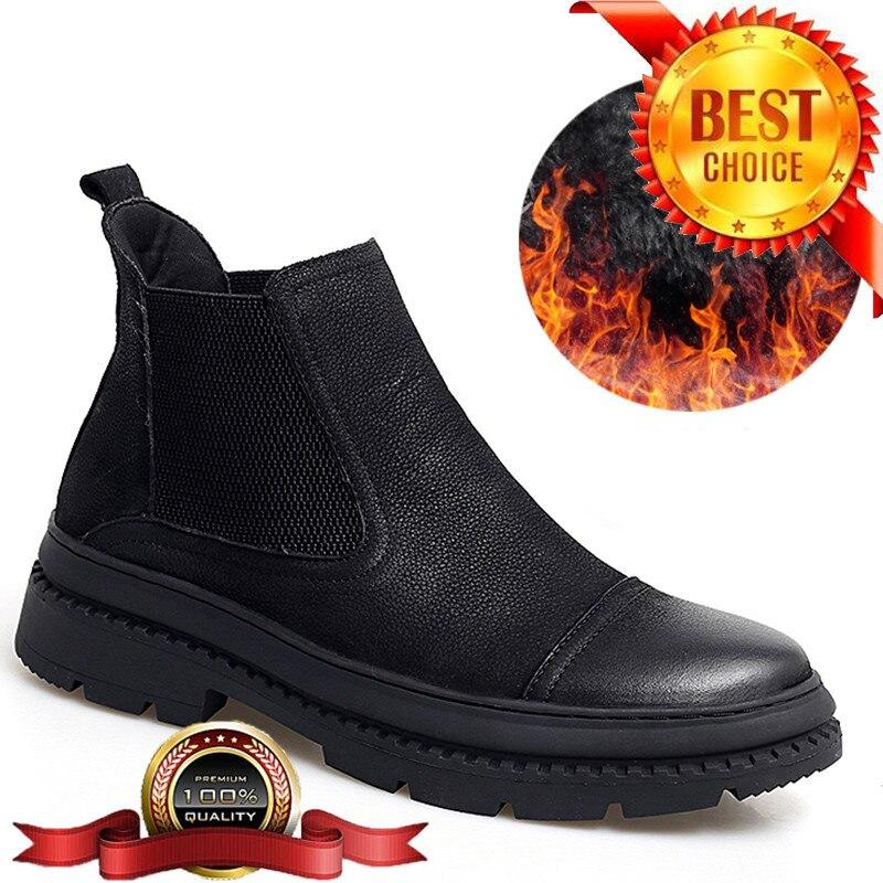 Большие размеры 38-47, зимняя обувь, мужские ботинки челси, кожаная обувь, мужские зимние ботинки, черные теплые меховые ботильоны, мужская обу...