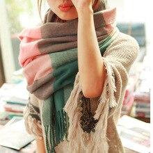 WORSICO Fashion Cashmere Wool Scarf Bufanda Tassel Shawl Pashmina Bufandas Spain Thick Plaid Women Winter