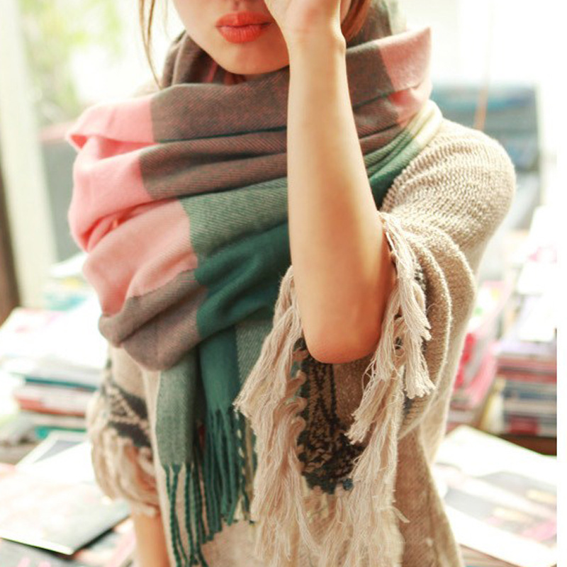WORSICO Classic Winter Scarf Women Blanket Plaid Scarf Cashmere Female Shawls and Scarves Warm Women Tippet