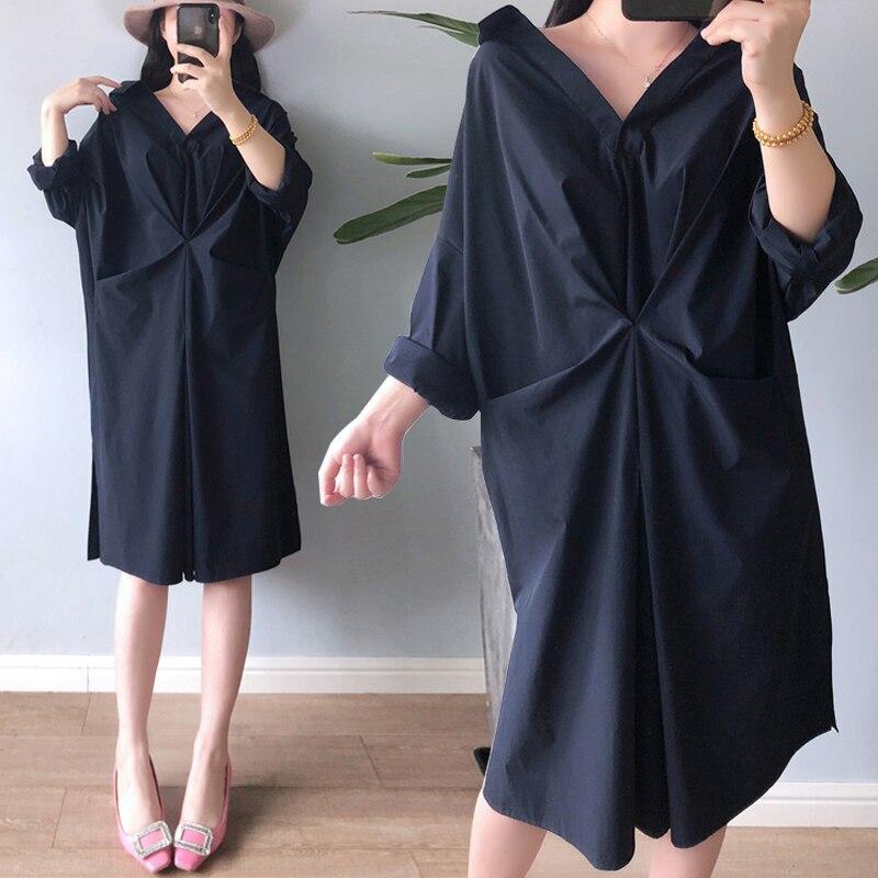Femmes été Oversize avant torsadé robe 2019 chauve-souris à manches longues robe streetwear Vestidos solide noir