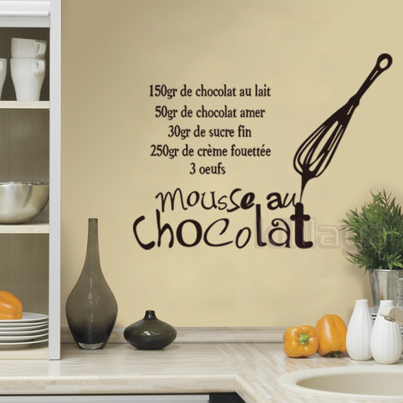 Stickers French Cuisine Vinyl Wall Sticker Decal Mousse Au Chocolate Mural Tile Wall Art Kitchen Wallpaper Home Decor 44x58cm