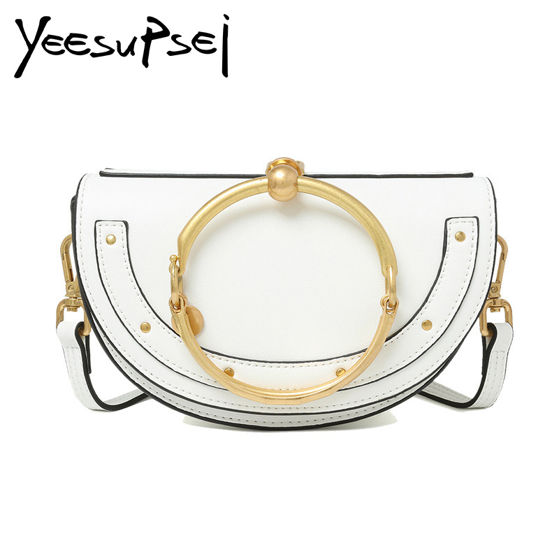 YeeSupSei Special Offer Real Small Mobile Phone Bag Metal Ring Half Moon Handbag Shoulder Corssbody Mini Genuine Leather Bag
